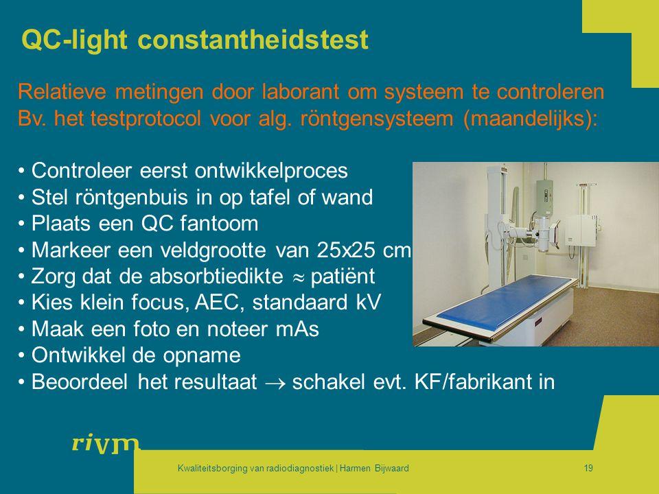Kwaliteitsborging van radiodiagnostiek | Harmen Bijwaard19 QC-light constantheidstest Relatieve metingen door laborant om systeem te controleren Bv. h