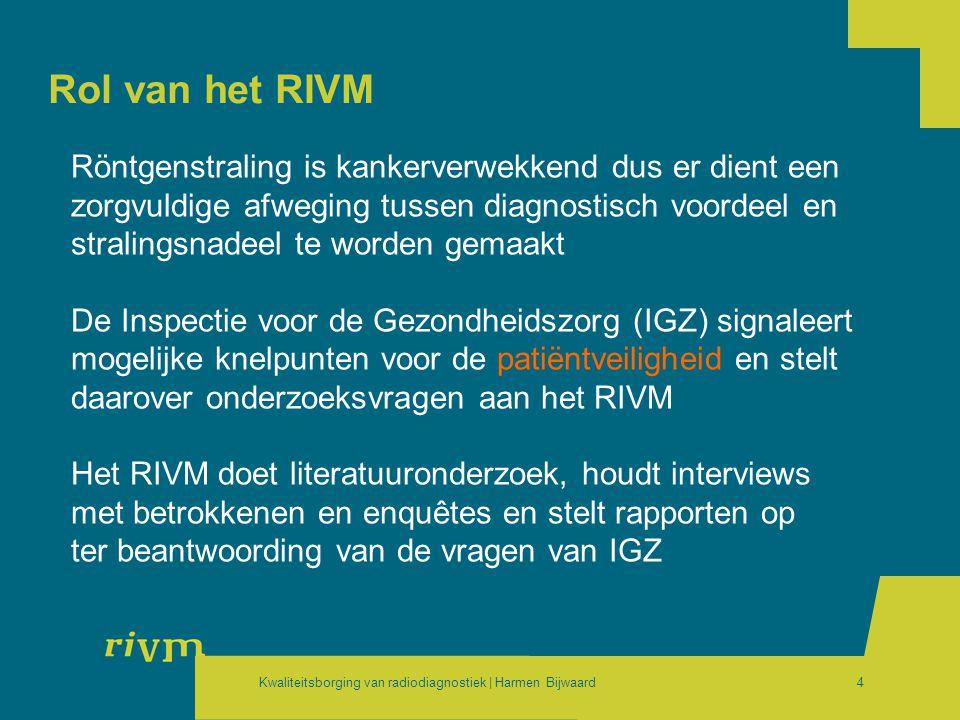 Kwaliteitsborging van radiodiagnostiek | Harmen Bijwaard4 Rol van het RIVM Röntgenstraling is kankerverwekkend dus er dient een zorgvuldige afweging t