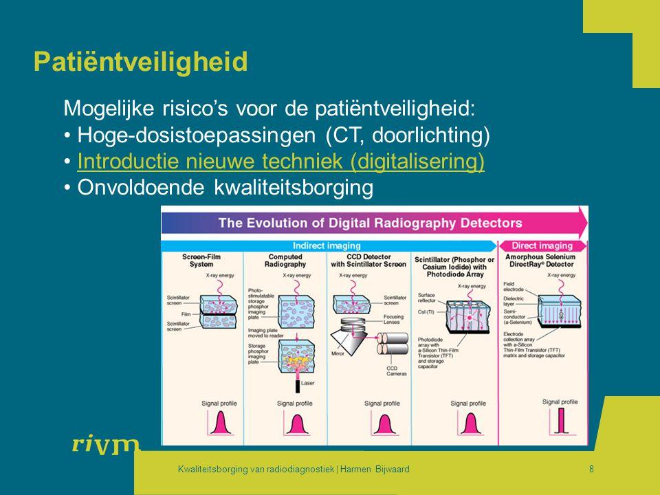 Kwaliteitsborging van radiodiagnostiek | Harmen Bijwaard8 Patiëntveiligheid Mogelijke risico's voor de patiëntveiligheid: • Hoge-dosistoepassingen (CT
