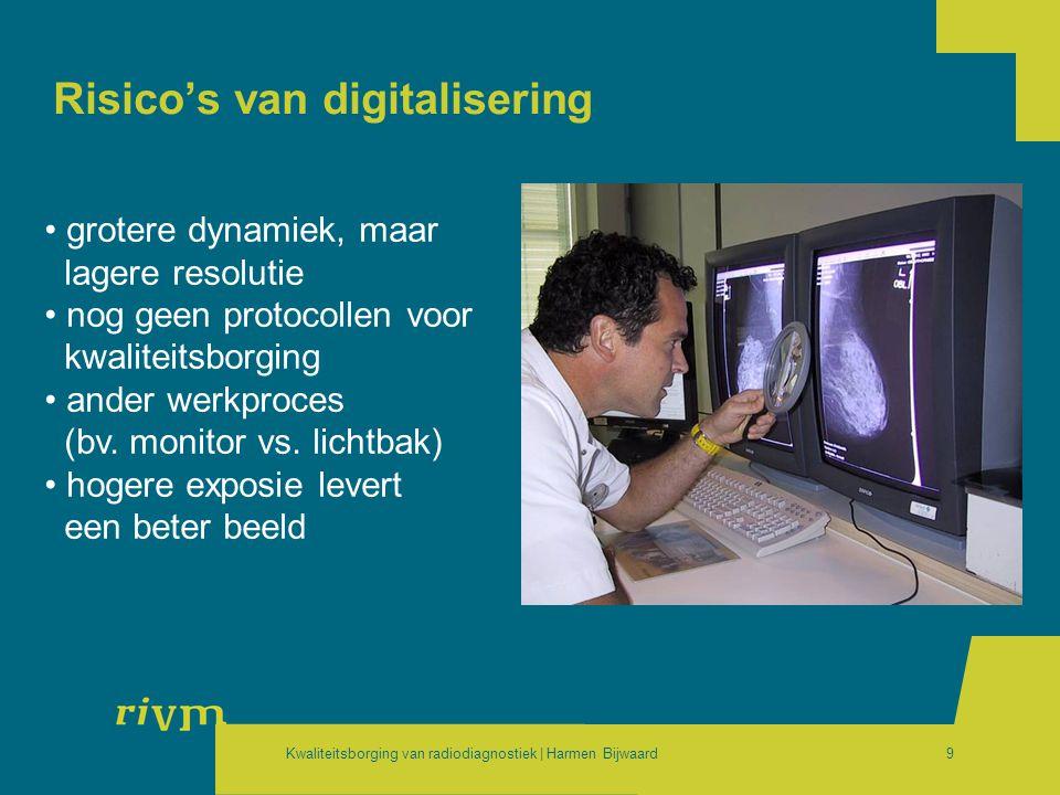 Kwaliteitsborging van radiodiagnostiek | Harmen Bijwaard9 Risico's van digitalisering • grotere dynamiek, maar lagere resolutie • nog geen protocollen