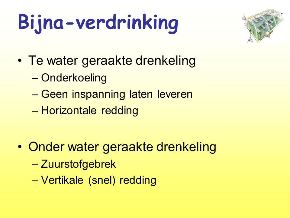 Bijna-verdrinking •Te water geraakte drenkeling –Onderkoeling –Geen inspanning laten leveren –Horizontale redding •Onder water geraakte drenkeling –Zuurstofgebrek –Vertikale (snel) redding