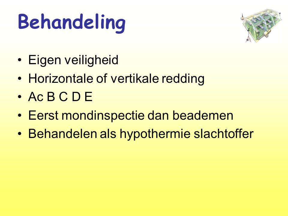 Behandeling •Eigen veiligheid •Horizontale of vertikale redding •Ac B C D E •Eerst mondinspectie dan beademen •Behandelen als hypothermie slachtoffer