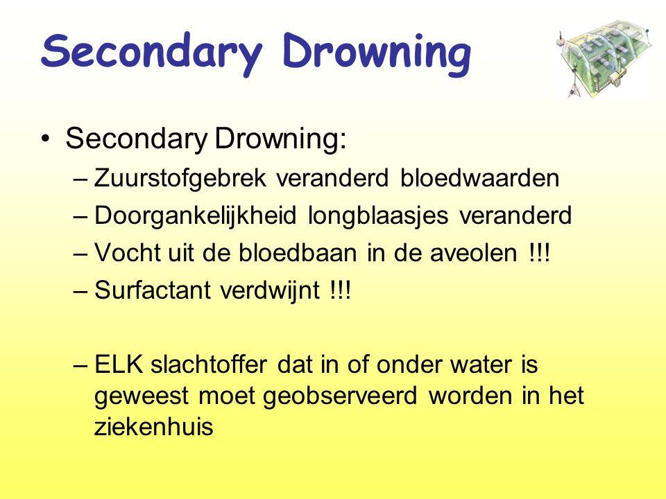 Secondary Drowning •Secondary Drowning: –Zuurstofgebrek veranderd bloedwaarden –Doorgankelijkheid longblaasjes veranderd –Vocht uit de bloedbaan in de aveolen !!.