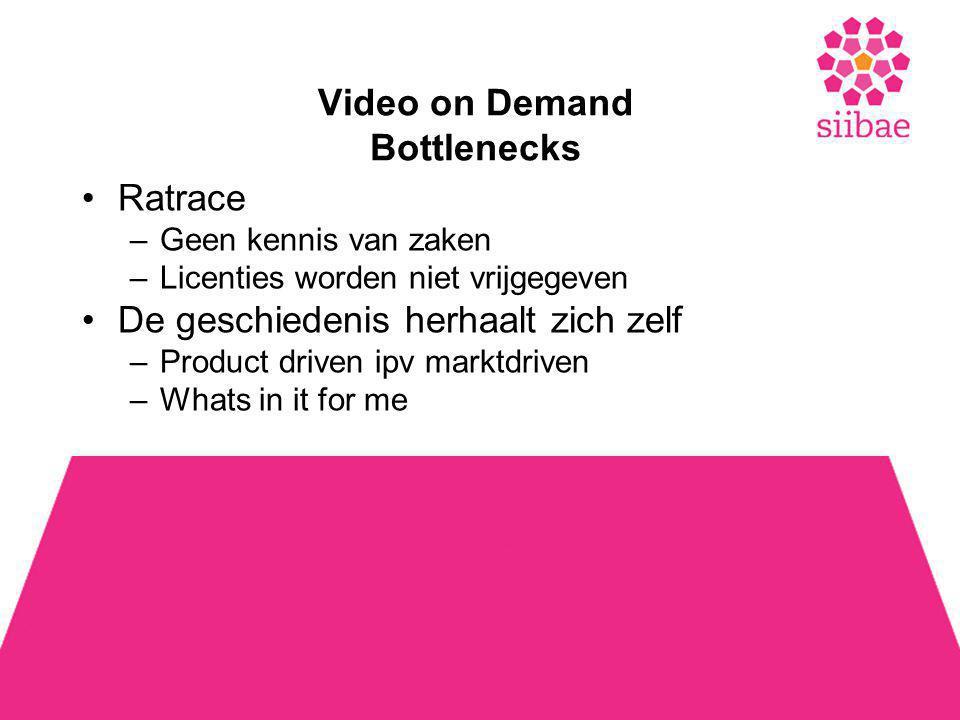 Video on Demand Bottlenecks •Ratrace –Geen kennis van zaken –Licenties worden niet vrijgegeven •De geschiedenis herhaalt zich zelf –Product driven ipv marktdriven –Whats in it for me