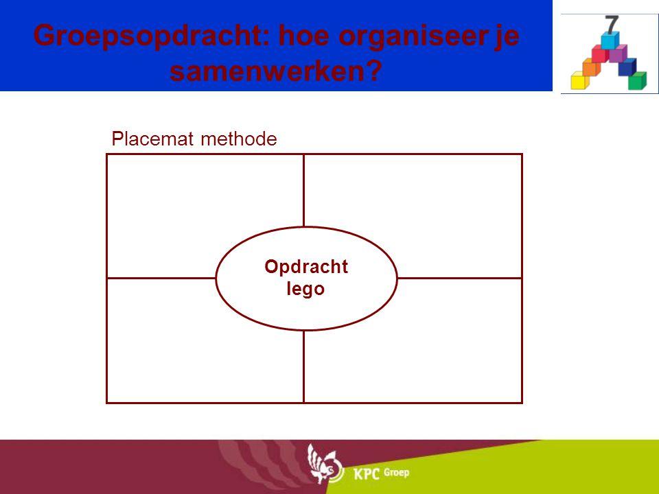 Placemat methode Groepsopdracht: hoe organiseer je samenwerken? Opdracht lego