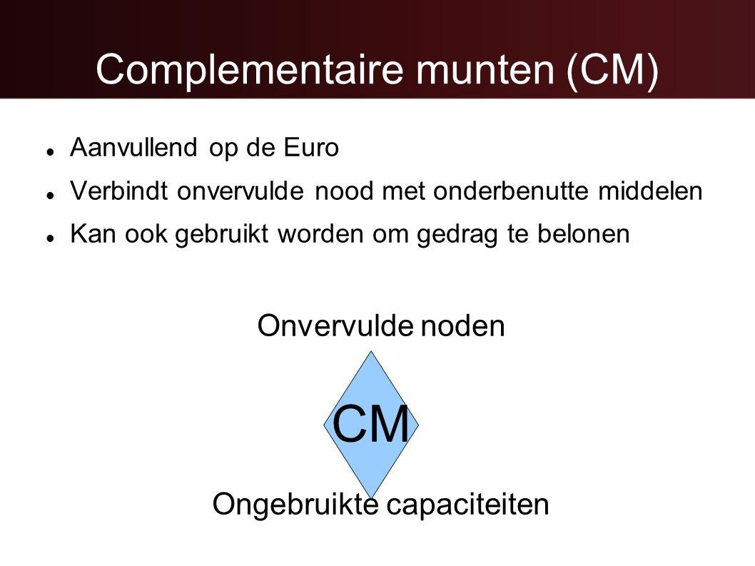 Complementaire munten (CM)  Aanvullend op de Euro  Verbindt onvervulde nood met onderbenutte middelen  Kan ook gebruikt worden om gedrag te belonen Onvervulde noden Ongebruikte capaciteiten CM