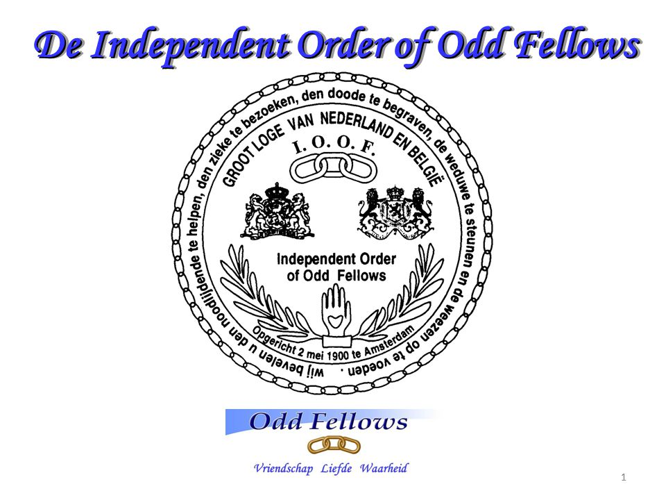 De Independent Order of Odd Fellows 11 Vriendschap Liefde waarheid