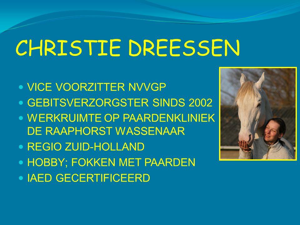 CHRISTIE DREESSEN  VICE VOORZITTER NVVGP  GEBITSVERZORGSTER SINDS 2002  WERKRUIMTE OP PAARDENKLINIEK DE RAAPHORST WASSENAAR  REGIO ZUID-HOLLAND 