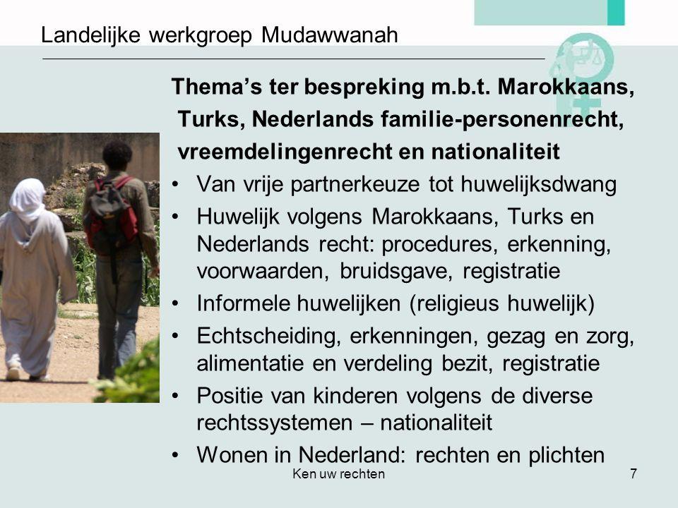 Ken uw rechten7 Landelijke werkgroep Mudawwanah Thema's ter bespreking m.b.t.