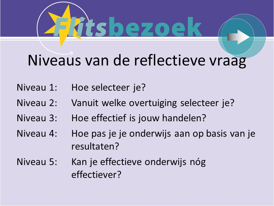 Niveaus van de reflectieve vraag Niveau 1: Hoe selecteer je.