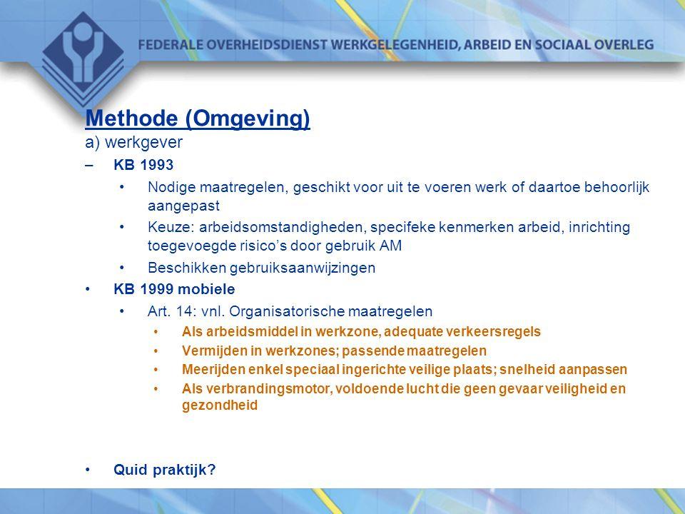 Methode (Omgeving) a) werkgever –KB 1993 •Nodige maatregelen, geschikt voor uit te voeren werk of daartoe behoorlijk aangepast •Keuze: arbeidsomstandi