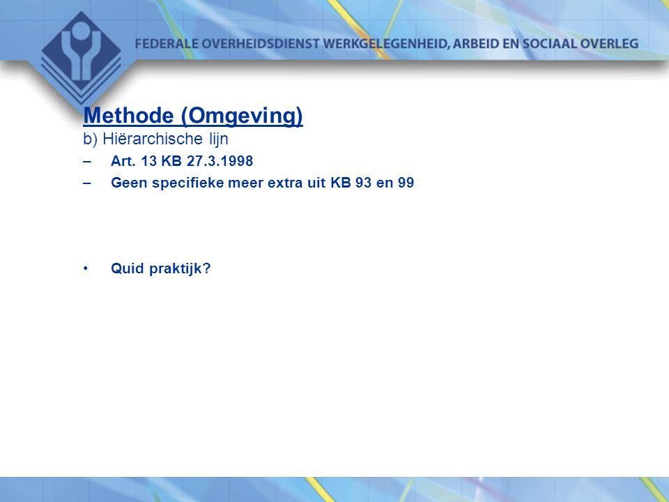 Methode (Omgeving) b) Hiërarchische lijn –Art. 13 KB 27.3.1998 –Geen specifieke meer extra uit KB 93 en 99 •Quid praktijk?