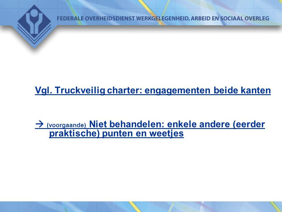 Vgl. Truckveilig charter: engagementen beide kanten  (voorgaande) Niet behandelen: enkele andere (eerder praktische) punten en weetjes