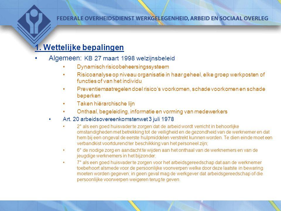 1. Wettelijke bepalingen •Algemeen: KB 27 maart 1998 welzijnsbeleid •Dynamisch risicobeheersingssysteem •Risicoanalyse op niveau organisatie in haar g