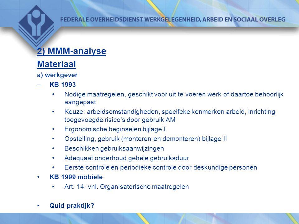 2) MMM-analyse Materiaal a) werkgever –KB 1993 •Nodige maatregelen, geschikt voor uit te voeren werk of daartoe behoorlijk aangepast •Keuze: arbeidsom