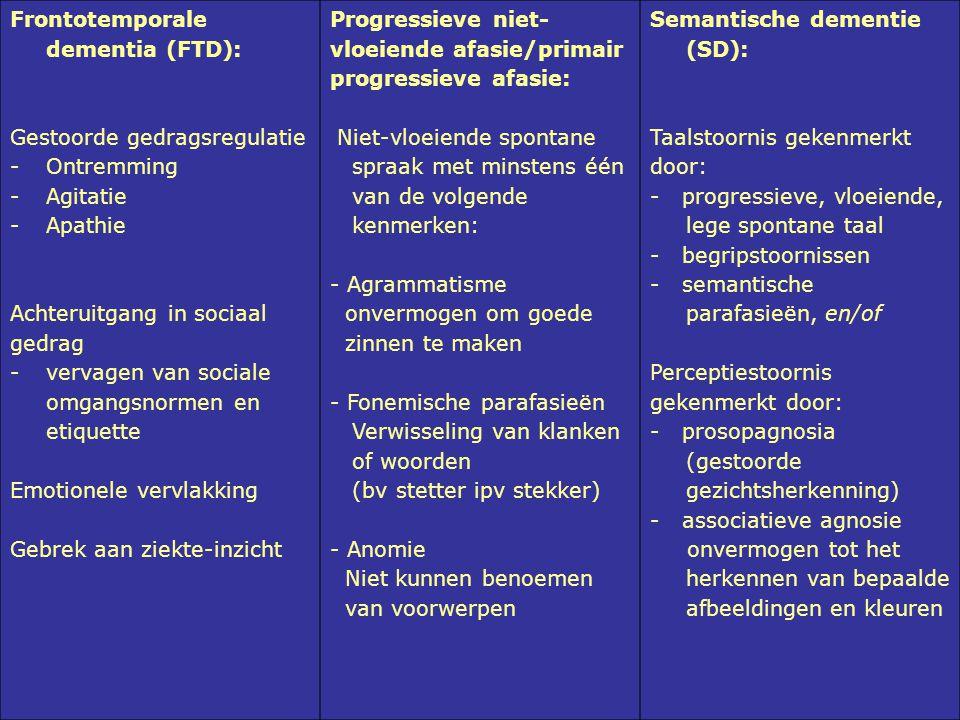Frontotemporale dementia (FTD): Gestoorde gedragsregulatie -Ontremming -Agitatie -Apathie Achteruitgang in sociaal gedrag -vervagen van sociale omgang