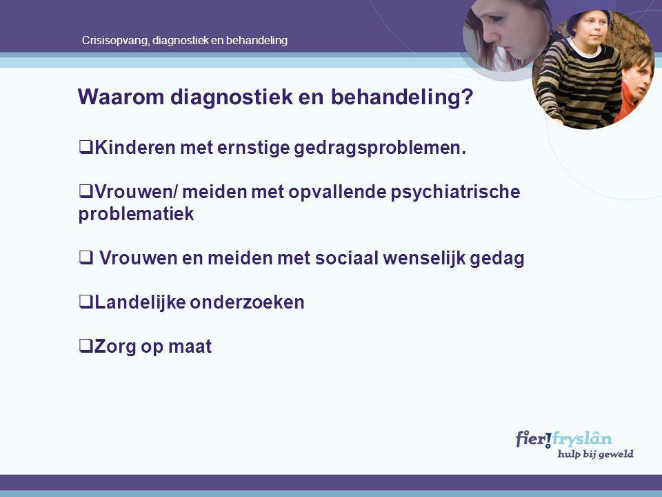 Crisisopvang, diagnostiek en behandeling Waarom diagnostiek en behandeling?  Kinderen met ernstige gedragsproblemen.  Vrouwen/ meiden met opvallende
