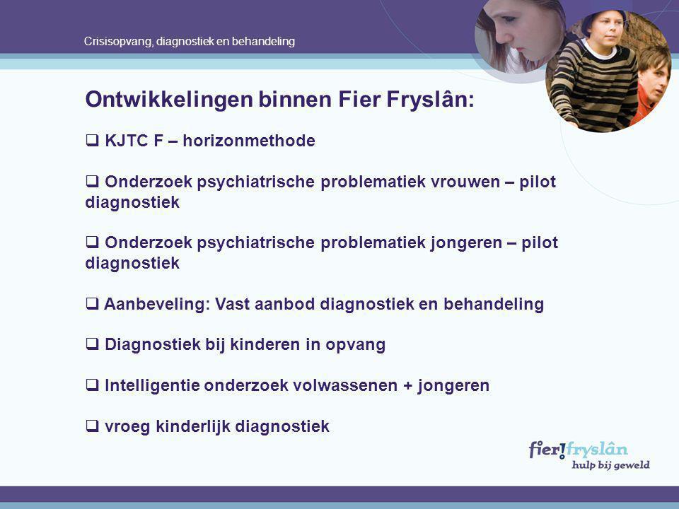 Crisisopvang, diagnostiek en behandeling Ontwikkelingen binnen Fier Fryslân:  KJTC F – horizonmethode  Onderzoek psychiatrische problematiek vrouwen