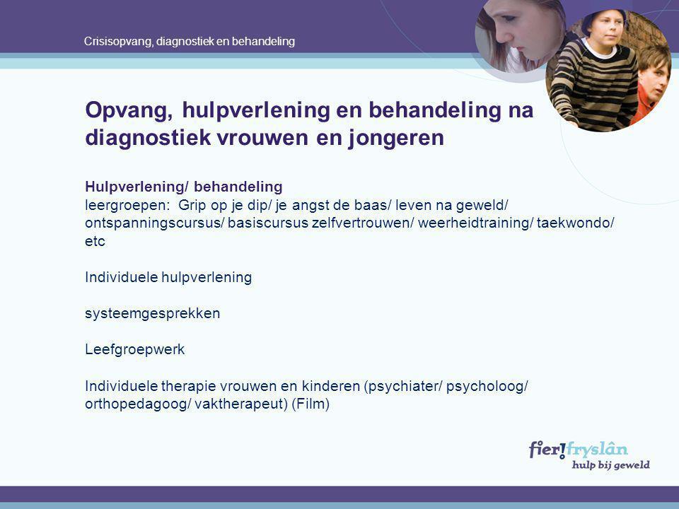 Crisisopvang, diagnostiek en behandeling Opvang, hulpverlening en behandeling na diagnostiek vrouwen en jongeren Hulpverlening/ behandeling leergroepe