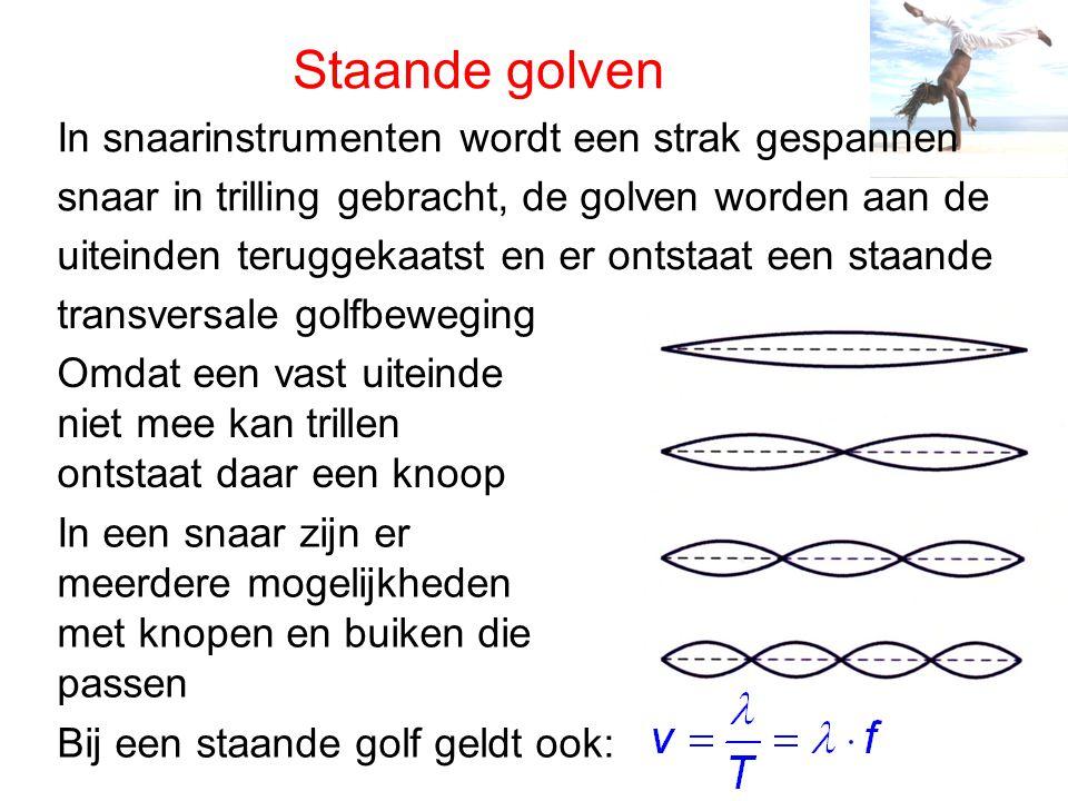 Staande golven Bij een staande golf is het verschil met een lopende golf: • alle punten trillen niet met dezelfde amplitude, de amplitude is maximaal in een buik en nul in een knoop • tussen twee knopen hebben alle punten gelijke fase, aan weerszijde tegengestelde fase • alle punten gaan op hetzelfde moment door de evenwichtsstand