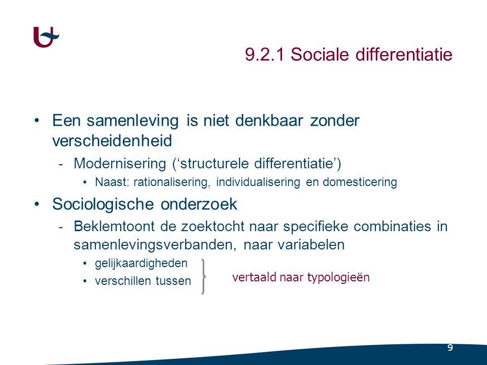 9 9.2.1 Sociale differentiatie •Een samenleving is niet denkbaar zonder verscheidenheid -Modernisering ('structurele differentiatie') •Naast: rationalisering, individualisering en domesticering •Sociologische onderzoek -Beklemtoont de zoektocht naar specifieke combinaties in samenlevingsverbanden, naar variabelen •gelijkaardigheden •verschillen tussen vertaald naar typologieën
