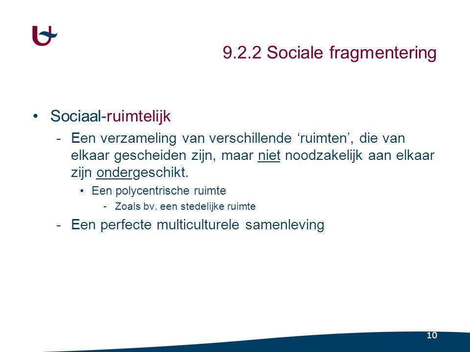 10 9.2.2 Sociale fragmentering •Sociaal-ruimtelijk -Een verzameling van verschillende 'ruimten', die van elkaar gescheiden zijn, maar niet noodzakelijk aan elkaar zijn ondergeschikt.