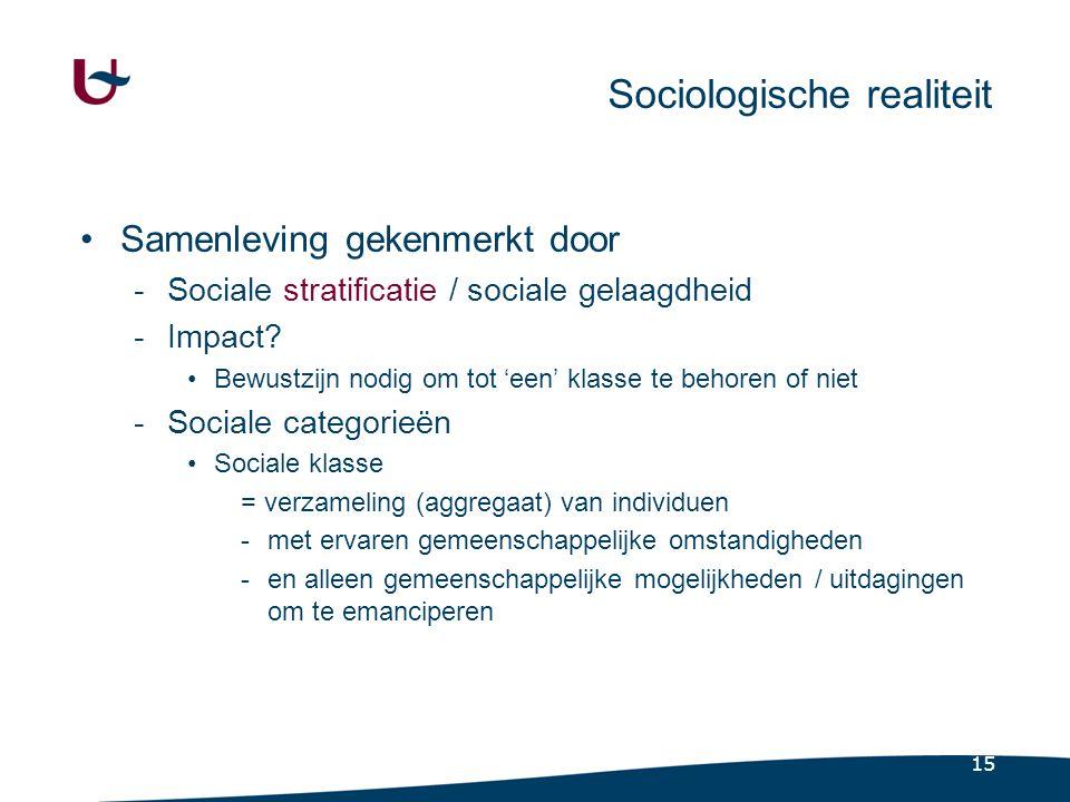 15 Sociologische realiteit •Samenleving gekenmerkt door -Sociale stratificatie / sociale gelaagdheid -Impact.