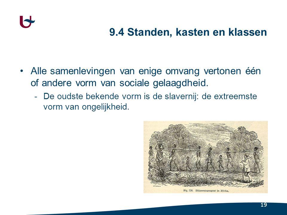 19 9.4 Standen, kasten en klassen •Alle samenlevingen van enige omvang vertonen één of andere vorm van sociale gelaagdheid.