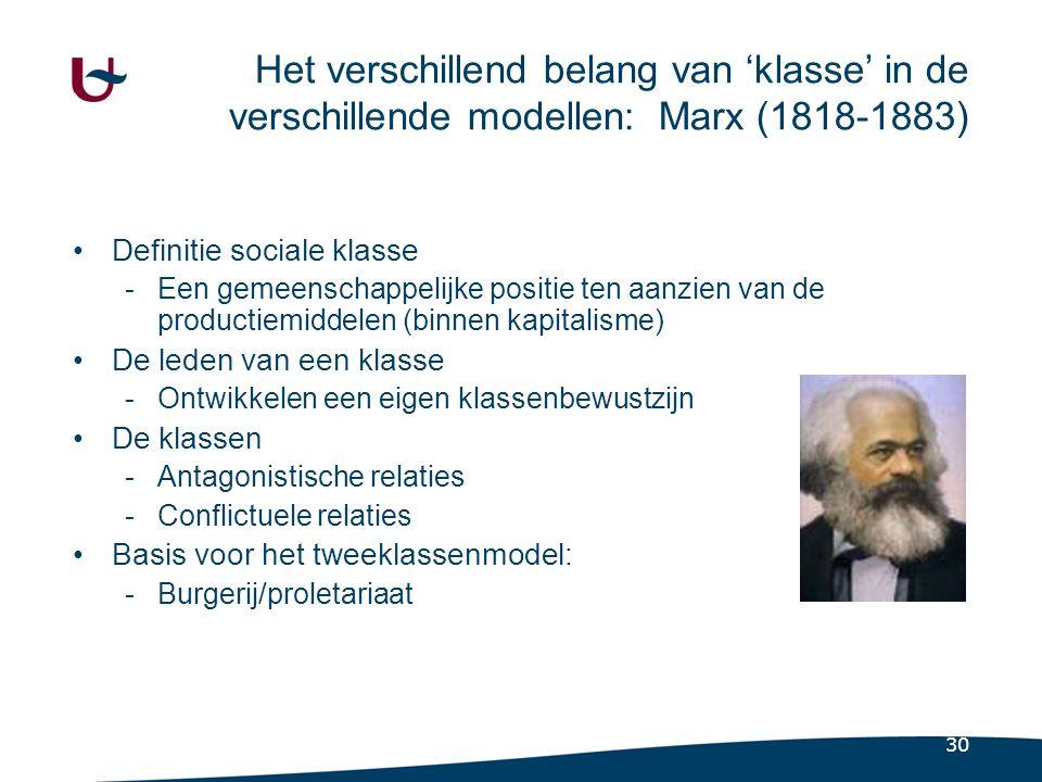 30 Het verschillend belang van 'klasse' in de verschillende modellen: Marx (1818-1883) •Definitie sociale klasse -Een gemeenschappelijke positie ten aanzien van de productiemiddelen (binnen kapitalisme) •De leden van een klasse -Ontwikkelen een eigen klassenbewustzijn •De klassen -Antagonistische relaties -Conflictuele relaties •Basis voor het tweeklassenmodel: -Burgerij/proletariaat