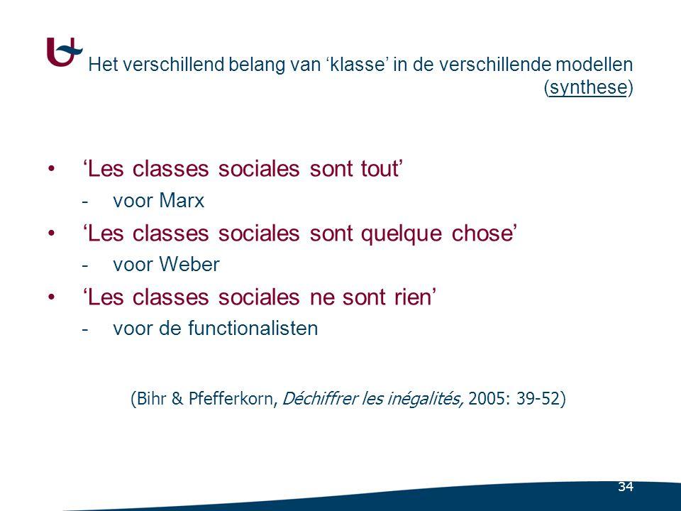 34 Het verschillend belang van 'klasse' in de verschillende modellen (synthese) •'Les classes sociales sont tout' -voor Marx •'Les classes sociales sont quelque chose' -voor Weber •'Les classes sociales ne sont rien' -voor de functionalisten (Bihr & Pfefferkorn, Déchiffrer les inégalités, 2005: 39-52)