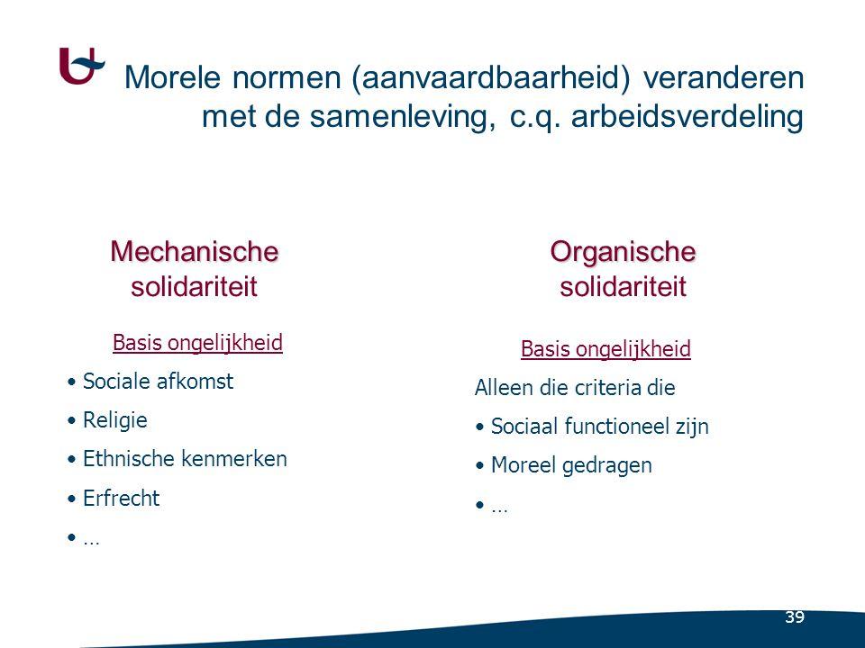 39 Morele normen (aanvaardbaarheid) veranderen met de samenleving, c.q.