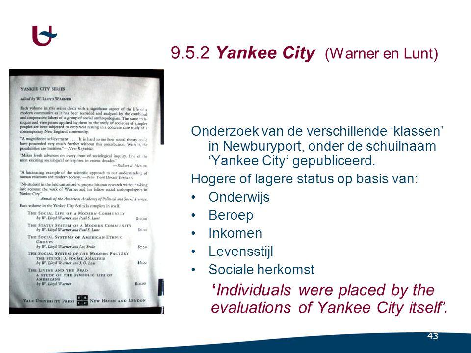 43 9.5.2 Yankee City (Warner en Lunt) Onderzoek van de verschillende 'klassen' in Newburyport, onder de schuilnaam 'Yankee City' gepubliceerd.