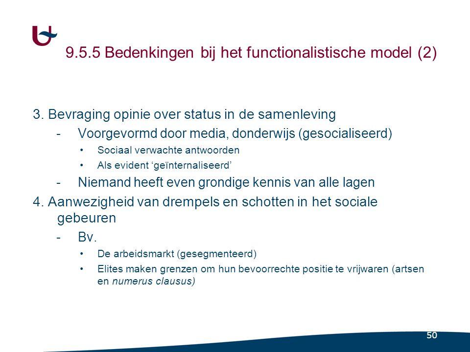 50 9.5.5 Bedenkingen bij het functionalistische model (2) 3.