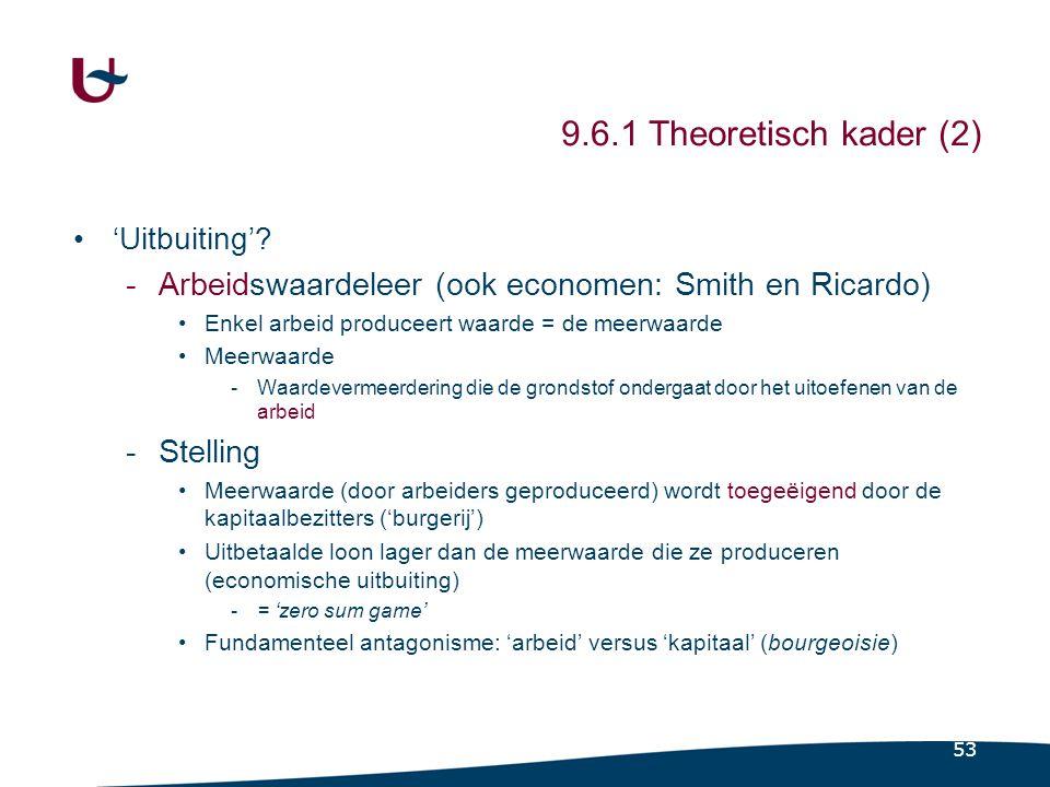 53 9.6.1 Theoretisch kader (2) •'Uitbuiting'.