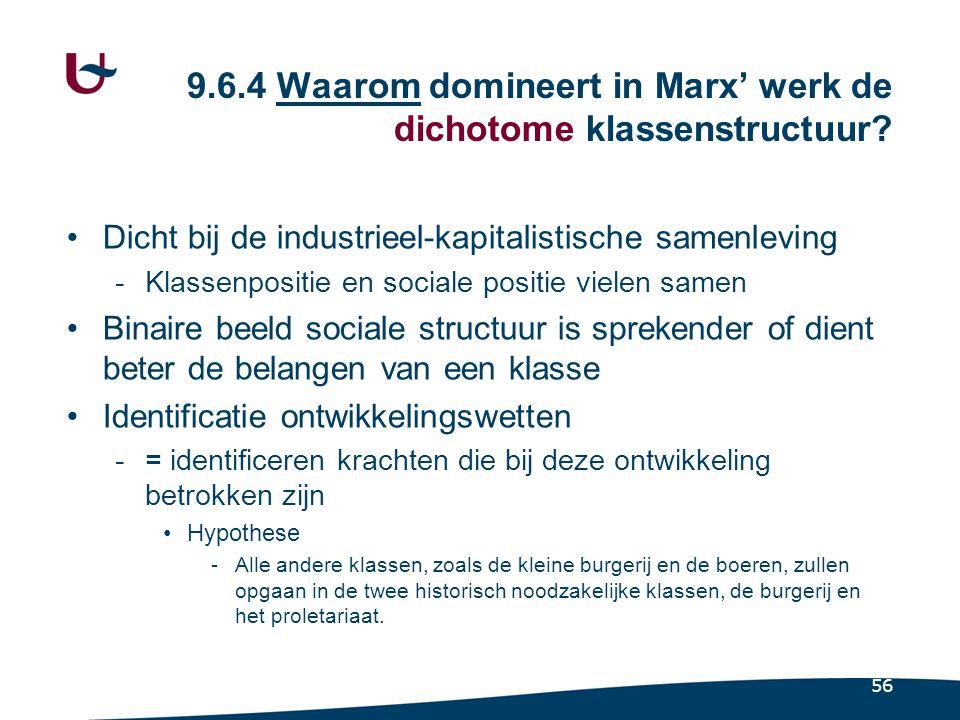 56 9.6.4 Waarom domineert in Marx' werk de dichotome klassenstructuur.