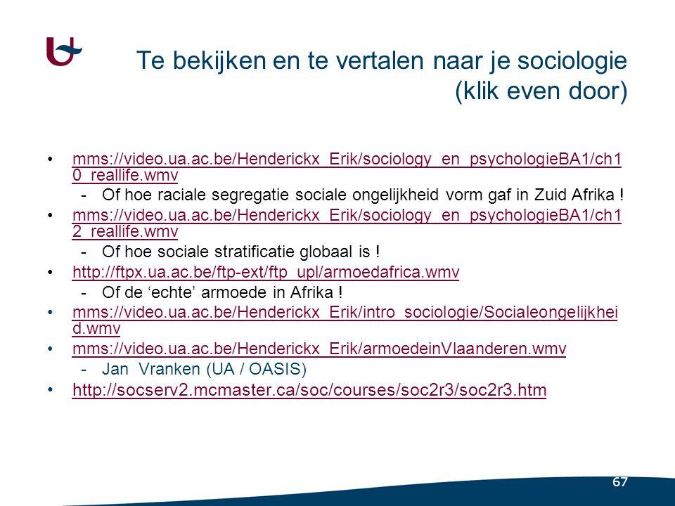 67 Te bekijken en te vertalen naar je sociologie (klik even door) •mms://video.ua.ac.be/Henderickx_Erik/sociology_en_psychologieBA1/ch1 0_reallife.wmvmms://video.ua.ac.be/Henderickx_Erik/sociology_en_psychologieBA1/ch1 0_reallife.wmv -Of hoe raciale segregatie sociale ongelijkheid vorm gaf in Zuid Afrika .
