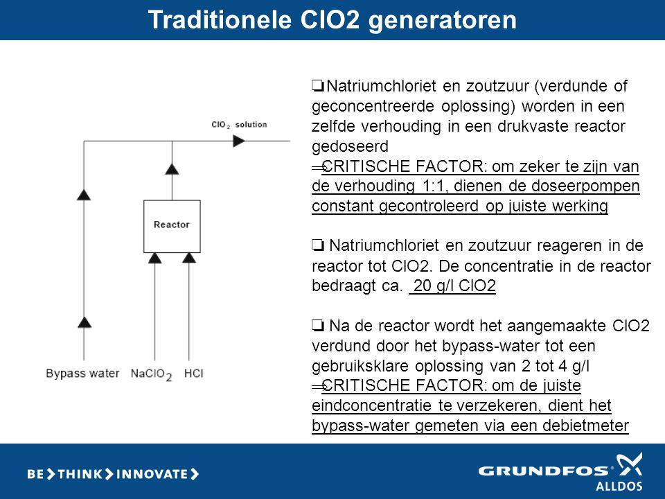 Traditionele ClO2 generatoren ❏ Natriumchloriet en zoutzuur (verdunde of geconcentreerde oplossing) worden in een zelfde verhouding in een drukvaste r