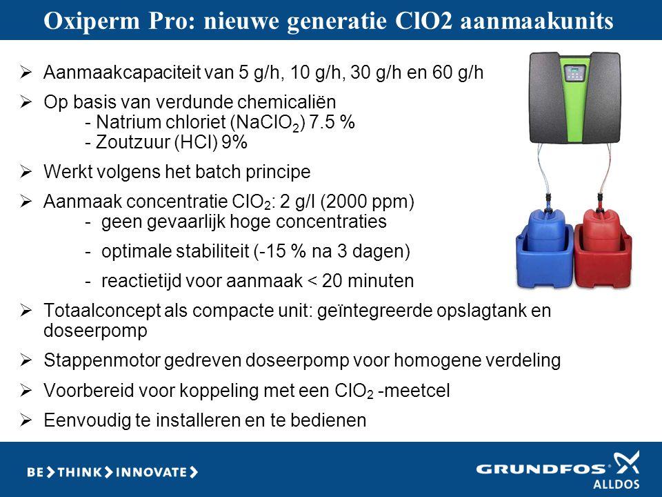 Oxiperm Pro: nieuwe generatie ClO2 aanmaakunits  Aanmaakcapaciteit van 5 g/h, 10 g/h, 30 g/h en 60 g/h  Op basis van verdunde chemicaliën - Natrium