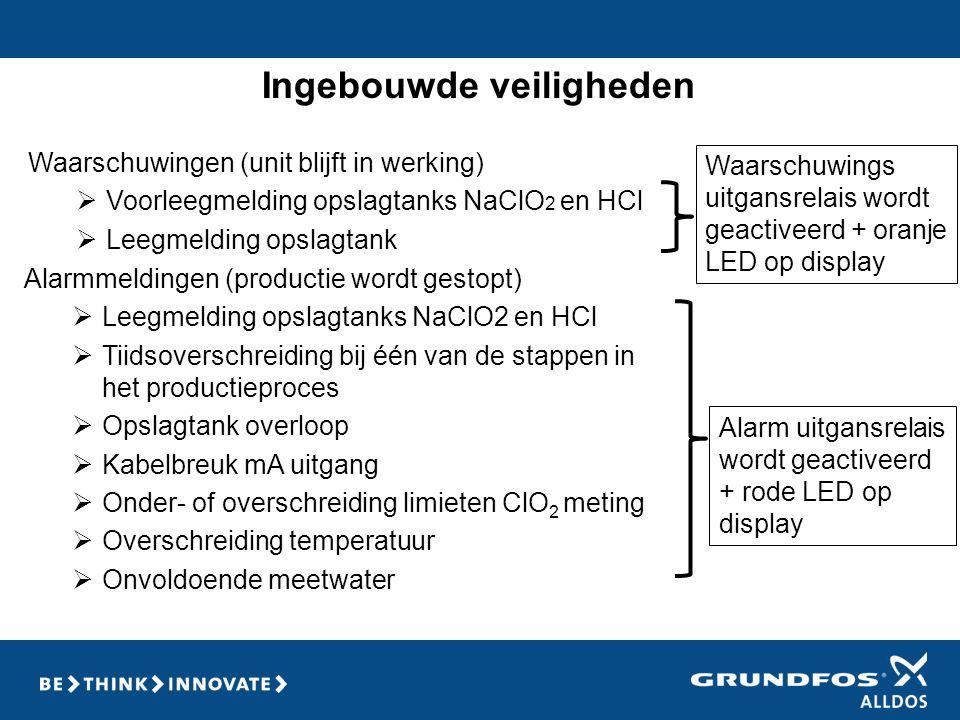 Ingebouwde veiligheden Waarschuwingen (unit blijft in werking)  Voorleegmelding opslagtanks NaClO 2 en HCl  Leegmelding opslagtank Waarschuwings uit