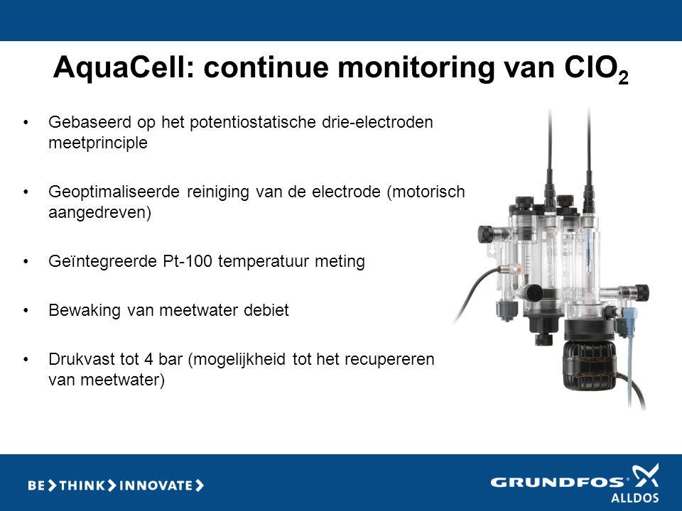 AquaCell: continue monitoring van ClO 2 •Gebaseerd op het potentiostatische drie-electroden meetprinciple •Geoptimaliseerde reiniging van de electrode