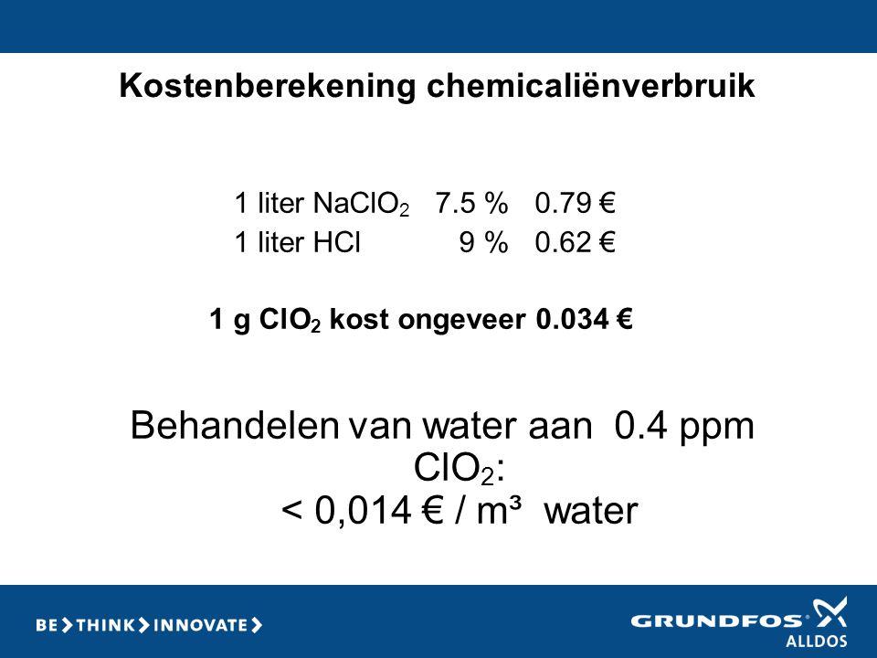 Kostenberekening chemicaliënverbruik 1 liter NaClO 2 7.5 % 0.79 € 1 liter HCl 9 % 0.62 € 1 g ClO 2 kost ongeveer 0.034 € Behandelen van water aan 0.4