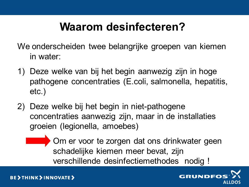 Opstellingsvoorbeeld Behandeling van 3 individuele watercircuits met één Oxiperm Pro aanmaakunit (10 g/h) en 2 extra doseerpompen