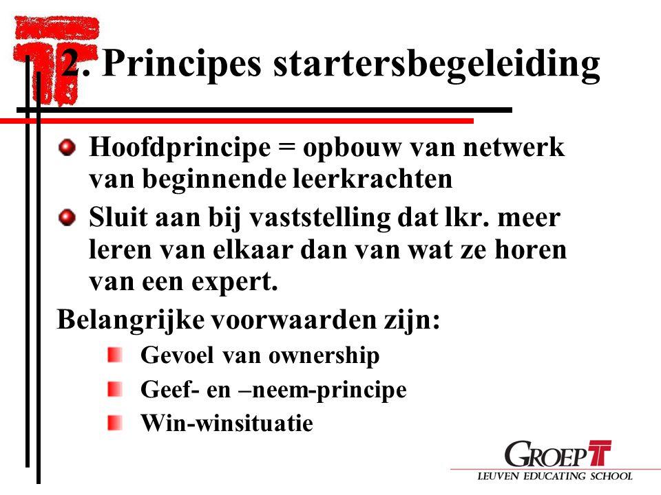2. Principes startersbegeleiding Hoofdprincipe = opbouw van netwerk van beginnende leerkrachten Sluit aan bij vaststelling dat lkr. meer leren van elk