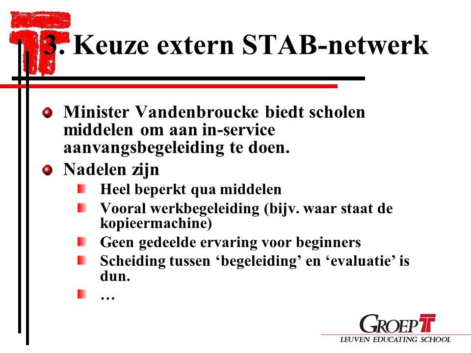 3. Keuze extern STAB-netwerk Minister Vandenbroucke biedt scholen middelen om aan in-service aanvangsbegeleiding te doen. Nadelen zijn Heel beperkt qu