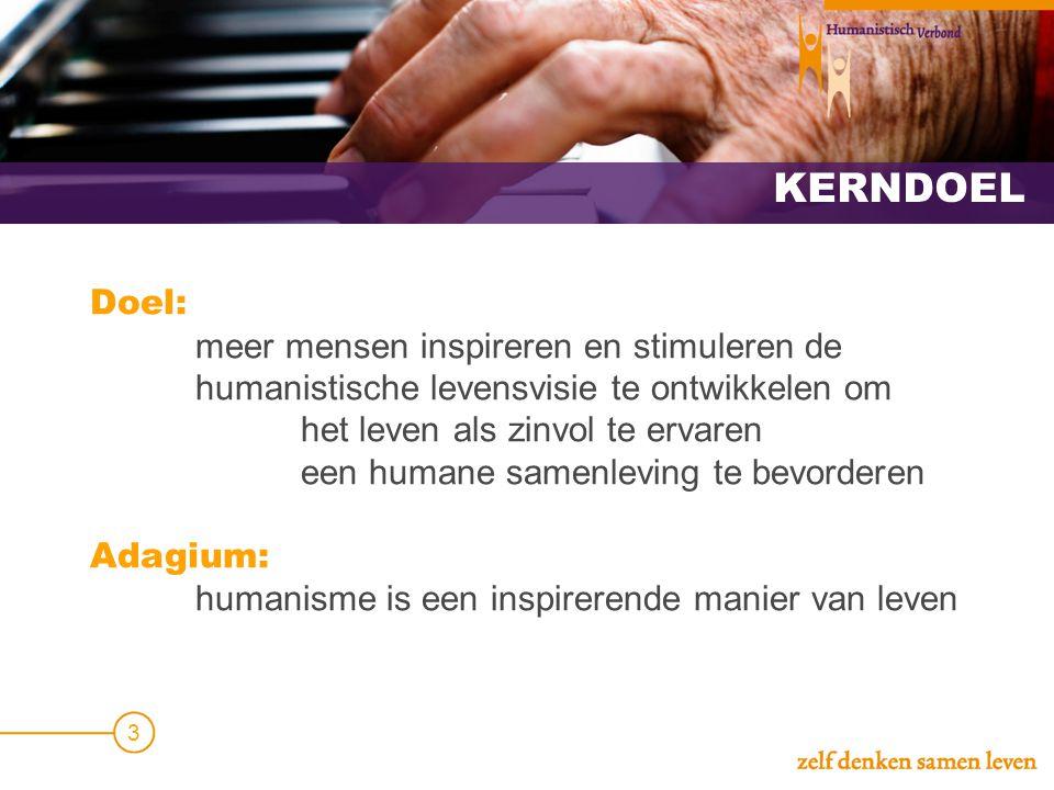 KERNDOEL Doel: meer mensen inspireren en stimuleren de humanistische levensvisie te ontwikkelen om het leven als zinvol te ervaren een humane samenlev