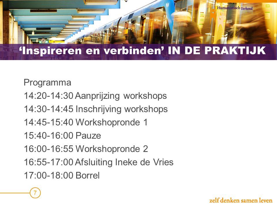 'Inspireren en verbinden' IN DE PRAKTIJK Programma 14:20-14:30 Aanprijzing workshops 14:30-14:45 Inschrijving workshops 14:45-15:40 Workshopronde 1 15