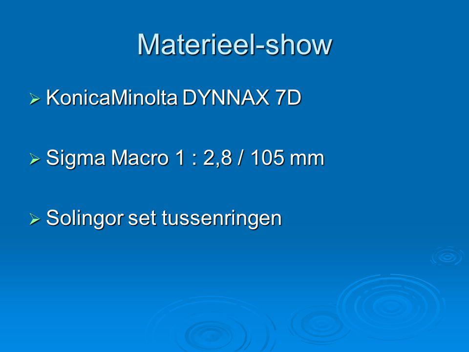 Materieel-show  KonicaMinolta DYNNAX 7D  Sigma Macro 1 : 2,8 / 105 mm  Solingor set tussenringen