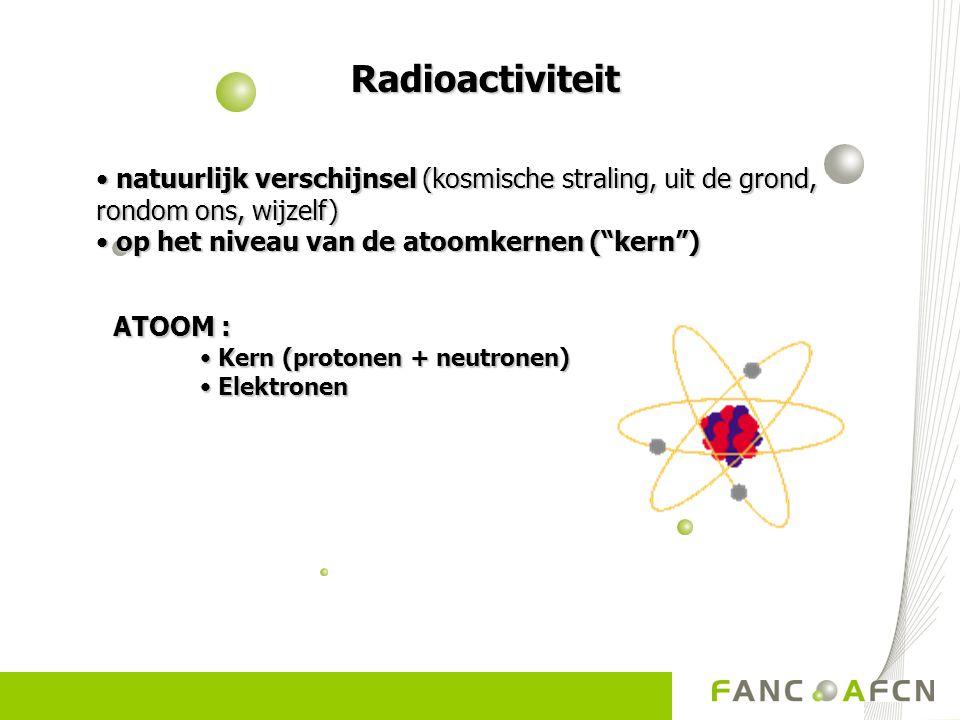 """Radioactiviteit Radioactiviteit • natuurlijk verschijnsel (kosmische straling, uit de grond, rondom ons, wijzelf) • op het niveau van de atoomkernen("""""""