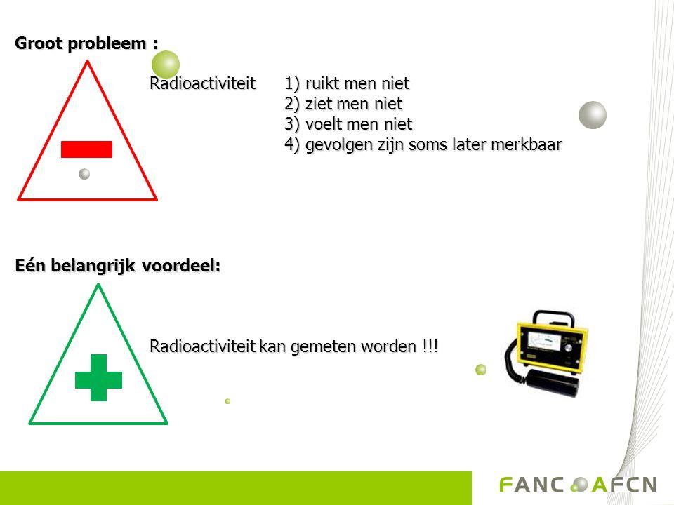 Groot probleem : Radioactiviteit 1) ruikt men niet 2) ziet men niet 3) voelt men niet 4) gevolgen zijn soms later merkbaar Eén belangrijk voordeel: Ra
