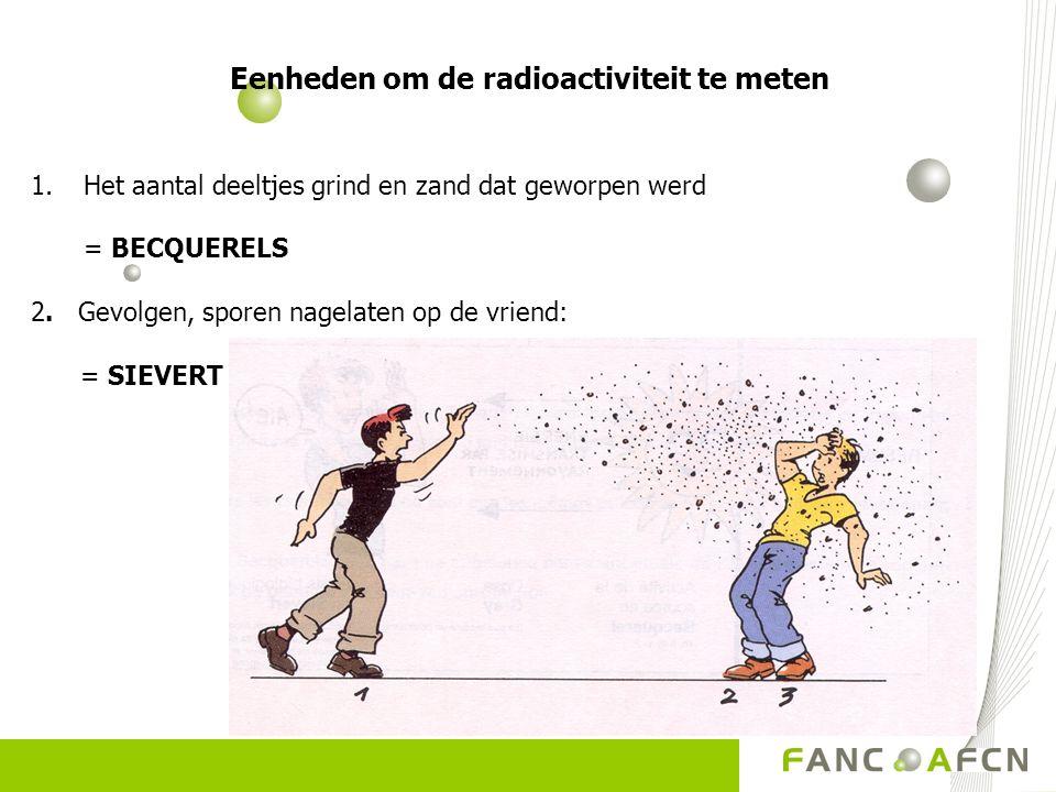 Eenheden om de radioactiviteit te meten 1.Het aantal deeltjes grind en zand dat geworpen werd = BECQUERELS 2. Gevolgen, sporen nagelaten op de vriend: